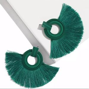 New Vintage Vibrant Green Tassel Earrings
